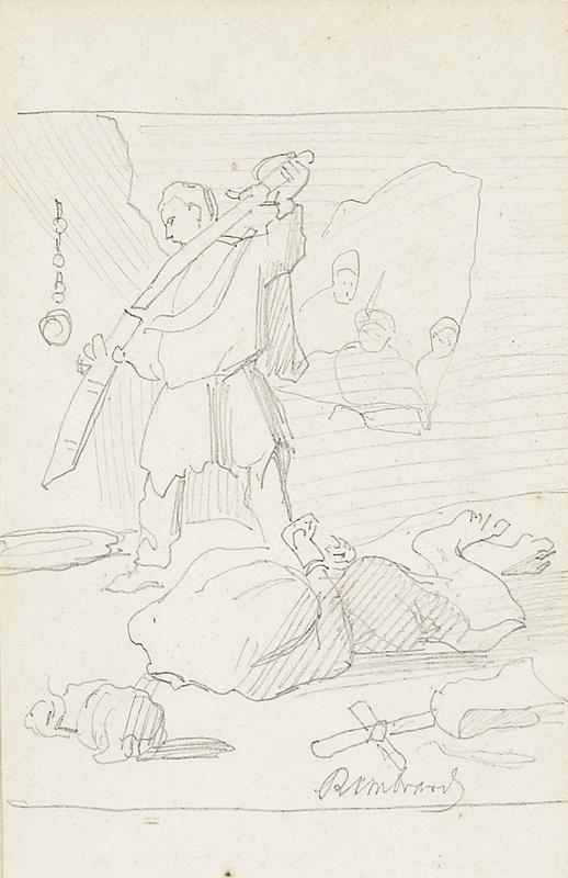 """Anker bleistiftzeichnung  Albert Anker Bleistiftzeichnung """"Enthauptung Johannes des Täufers ..."""